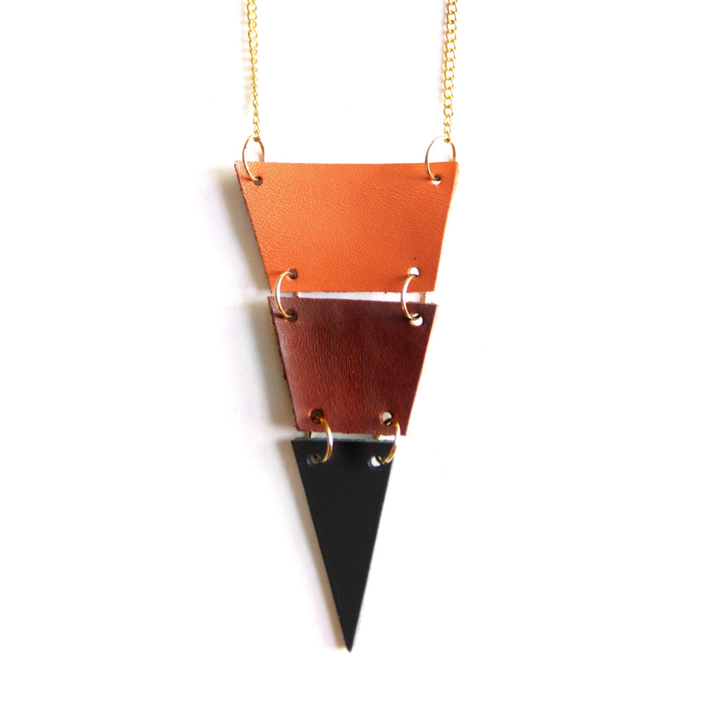 Tri-color leather triangle necklace, cut into 3 sections, close up view