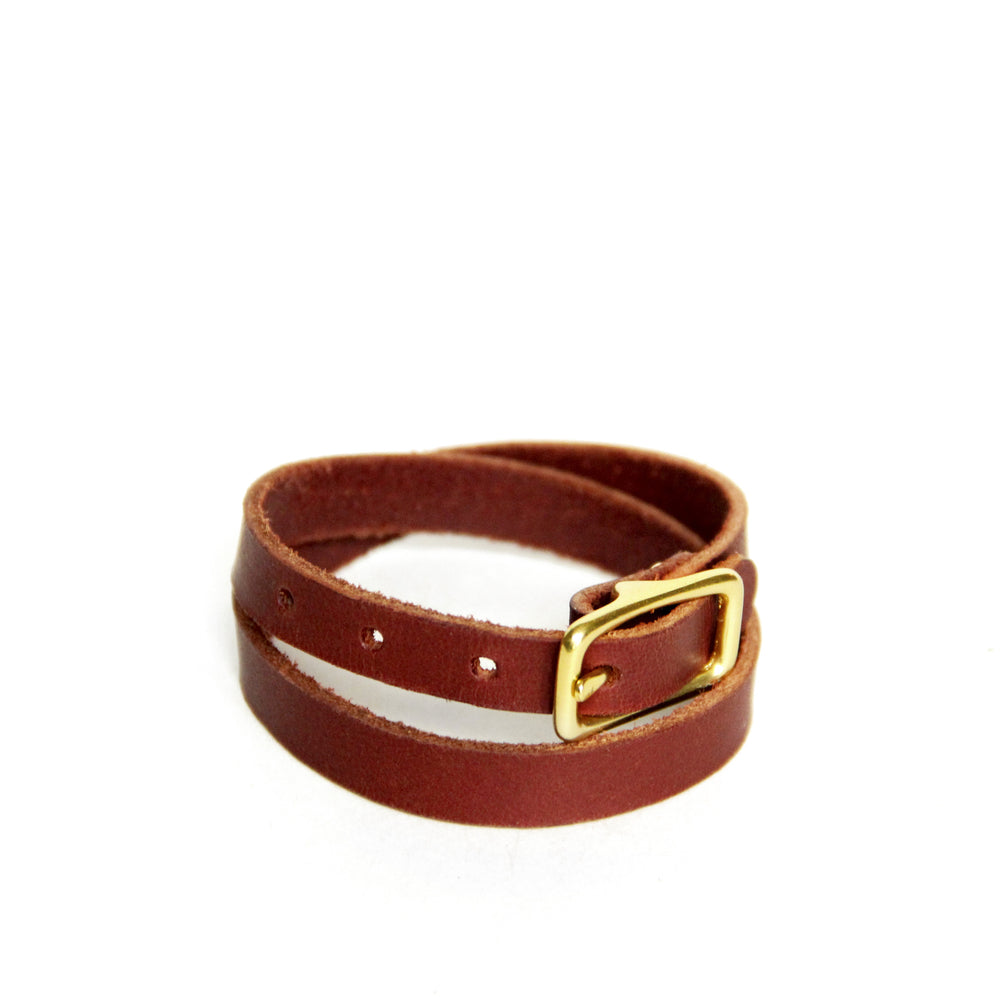 Chestnut brown leather wrap bracelet with brass hardware