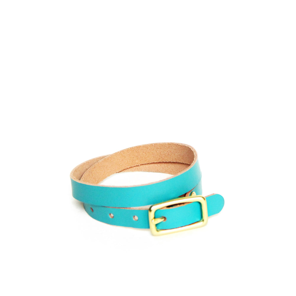 Teal leather wrap bracelet with brass hardware