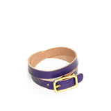 Purple leather wrap bracelet with brass hardware