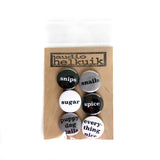 Gender Casserole Pin Set in black/white