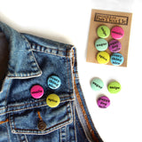 Gender Casserole Pin Set on denim vest