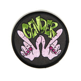 Gender Whatever Patch, purple hands in the form of W with the word Gender above it