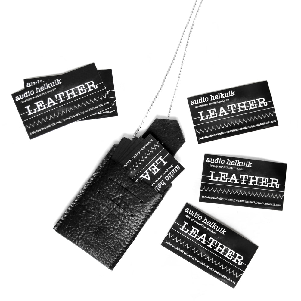 Black Leather ID holder necklace shown with business cards