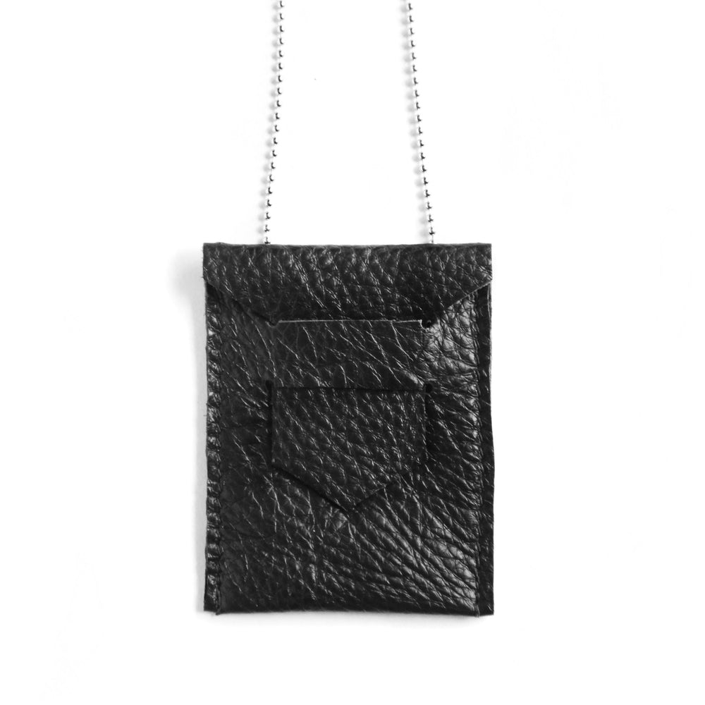 Black Leather ID holder necklace, close up