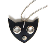 Black leather cat face shaped necklace, close up view