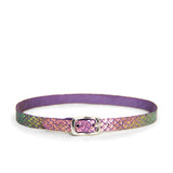 Purple choker with iridescent metallic scales on it. Choker features a small silver buckle.