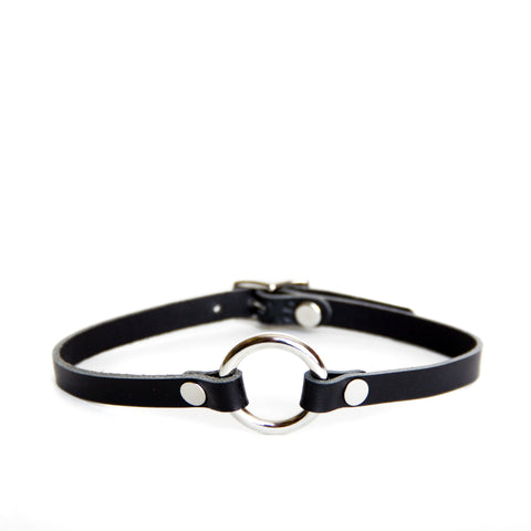 Black leather choker with silver O-ring and hardware