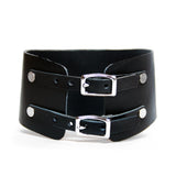 Back view, posture collar has double buckle in silver