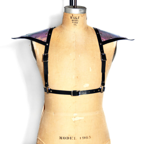 Black leather half suspender harness with silver hardware and mermaid leather triangle sholders, front view