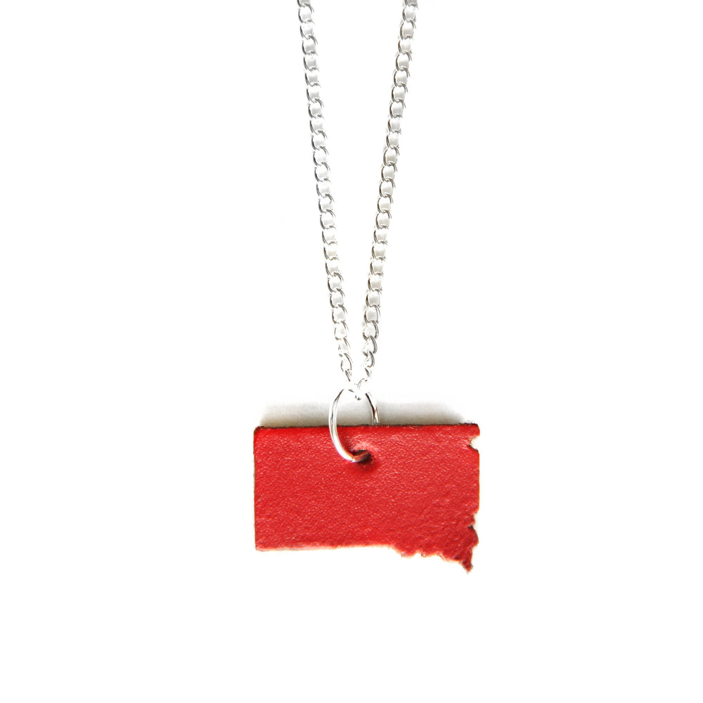 Red leather South Dakota shaped necklace
