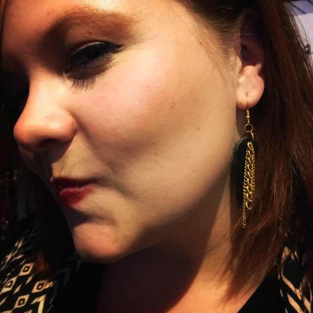 Black Leather & Gold Chain Earrings