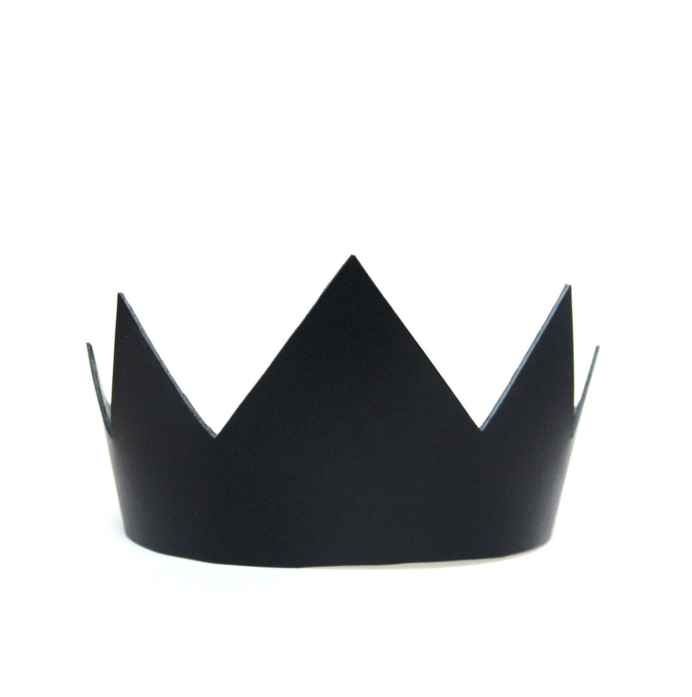 Black leather crown short, front view