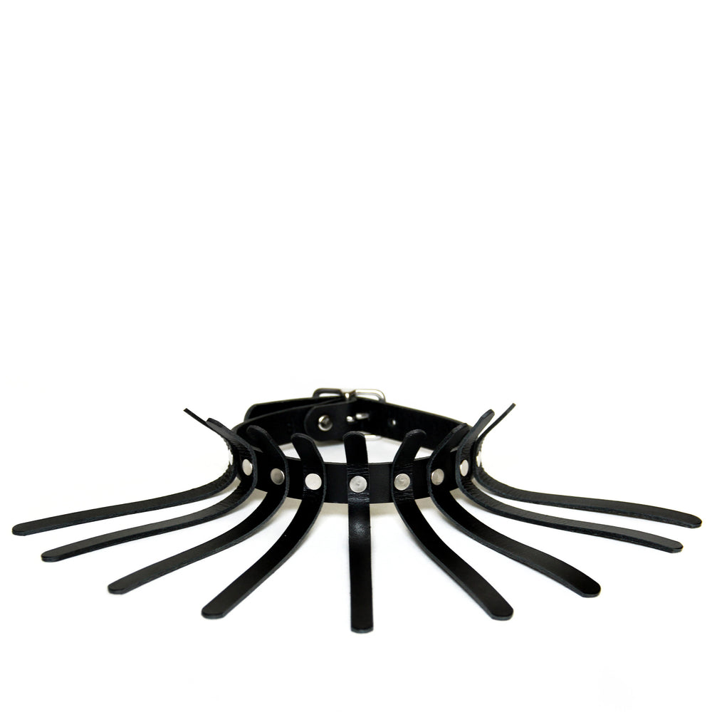 Black leather choker with nine thin spines coming off of the main choker base.