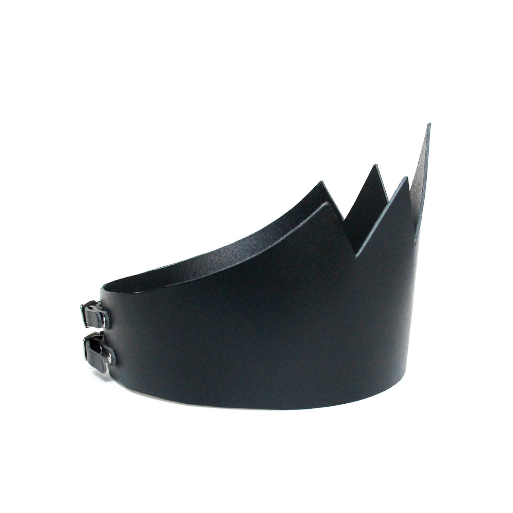 Black leather crown tall, side view