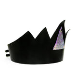 Black leather crown tall with mermaid leather triangle, angled front view