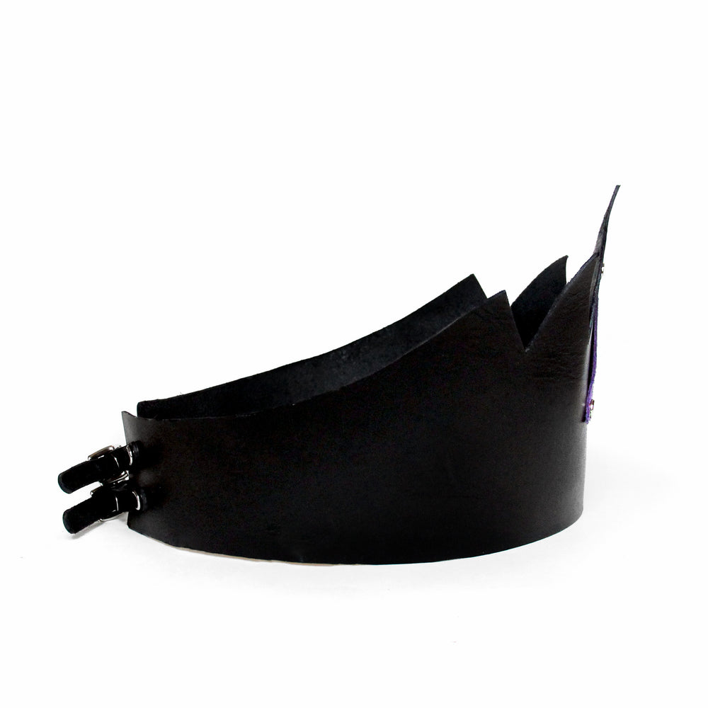 Black leather crown tall with mermaid leather triangle, side view