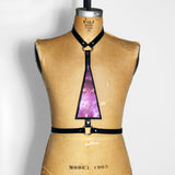 Black leather harness with upside down purple mermaid leather triangle in the center, front view