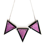 Trianthem Banner necklace, mermaid leather triangles, close view