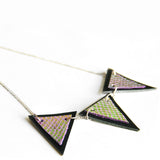 Trianthem Banner necklace, mermaid leather triangles, close angle view