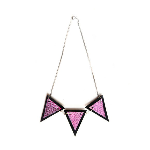 Trianthem Banner necklace, mermaid leather triangles full view