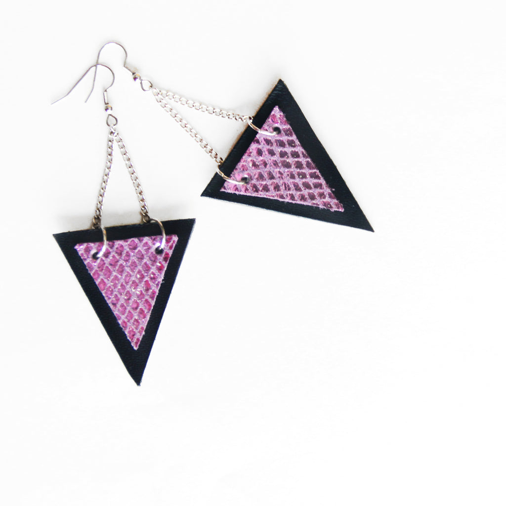 Trianthem earrings, triangle shaped mermaid leather earrings.