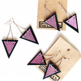 Trianthem earrings, triangle shaped mermaid leather earrings in packaging