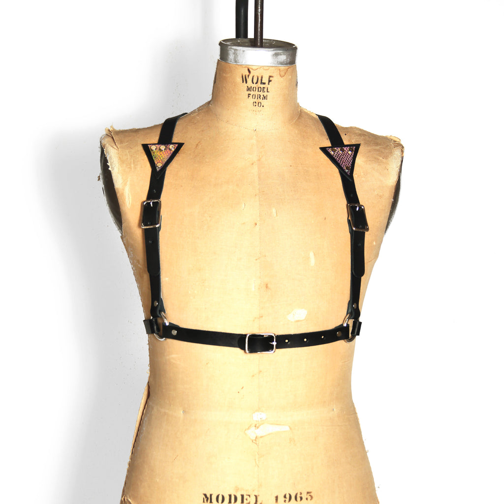 Half suspender harness with mermaid leather triangles on each strap