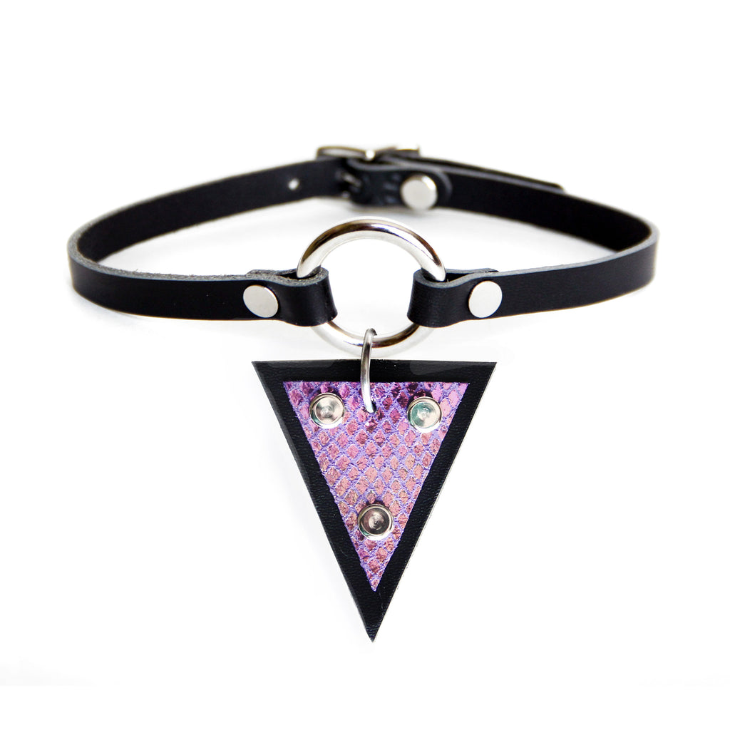 Black leather choker with silver O-ring and mermaid leather triangle hanging from O-ring