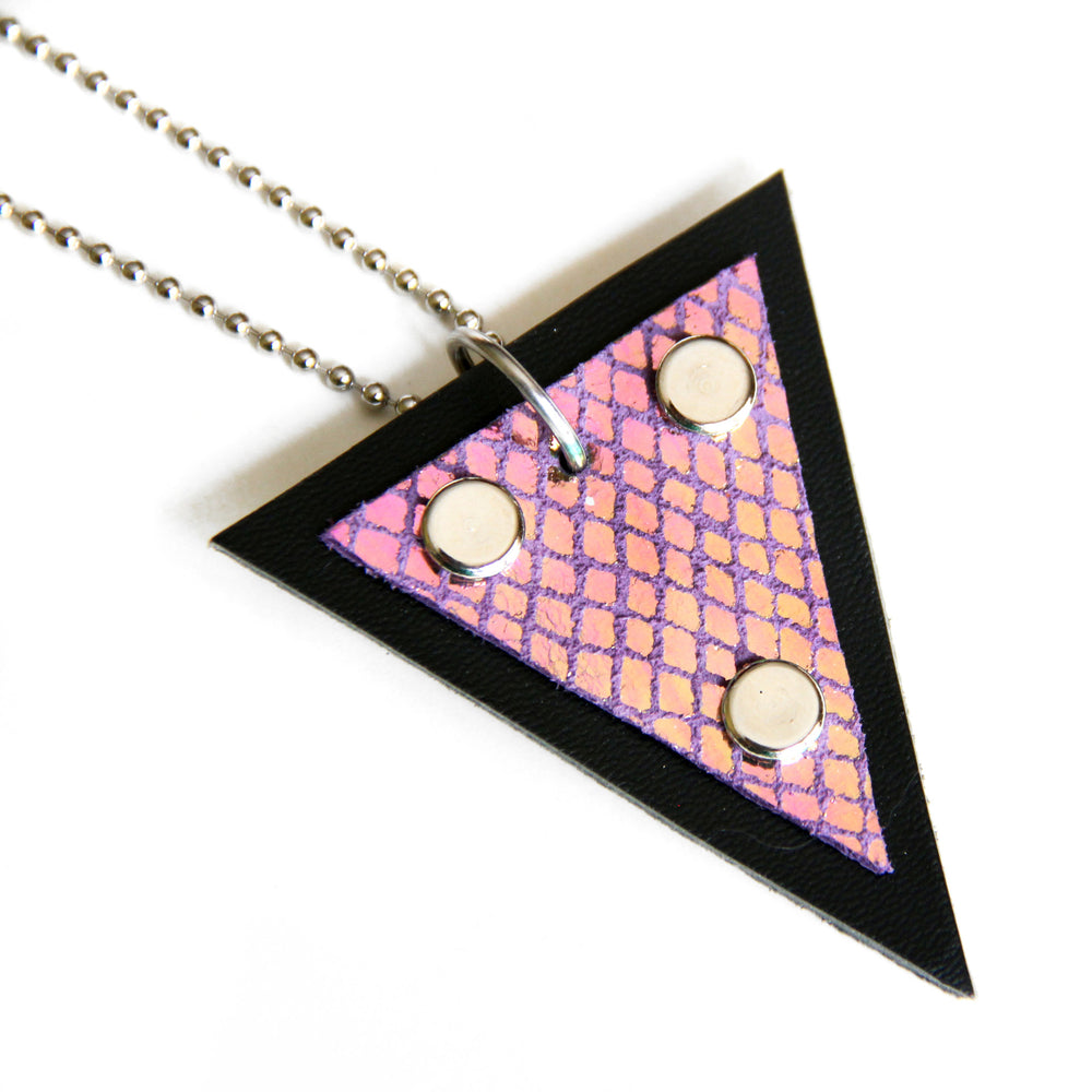 Trianthem Pendant necklace, purple mermaid leather, close up view