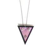 Trianthem Pendant necklace, purple mermaid leather, straight shot view