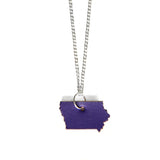 Purple leather Iowa shaped necklace