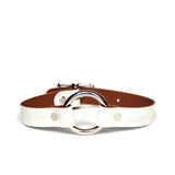 White leather choker with silver O-ring and hardware, front view