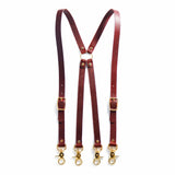 Chestnut brown leather suspenders with brass swivel trigger clips.