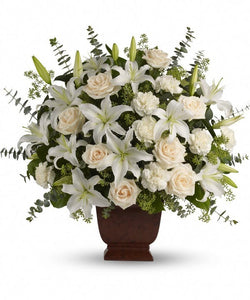 white roses lilies basket flower delivery funeral sympathy Chicago, IL