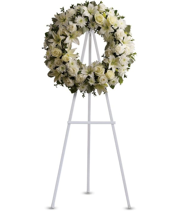 white flowers wreath sympathy funeral flowers Chicago, IL