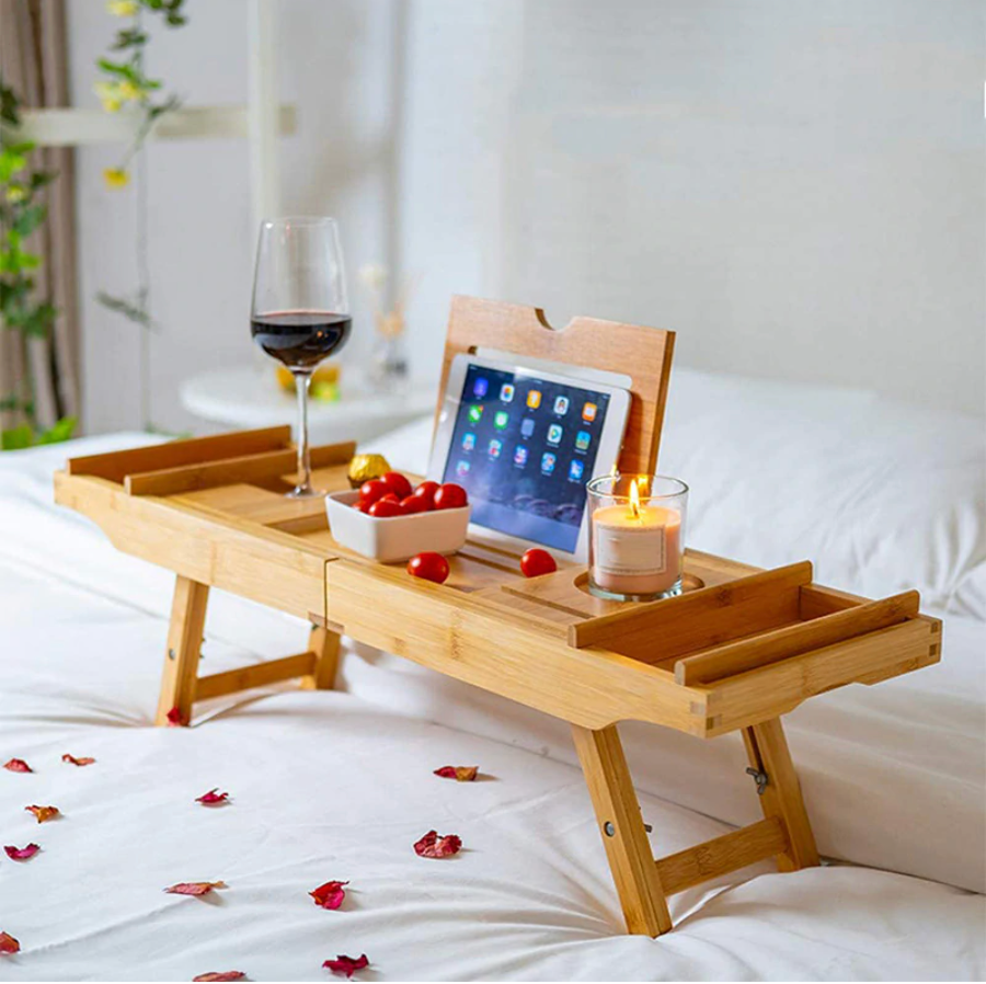 Aesthetic Bamboo Bathtub Tray Adjustable with Book Tablet and Luxury Cup Holders