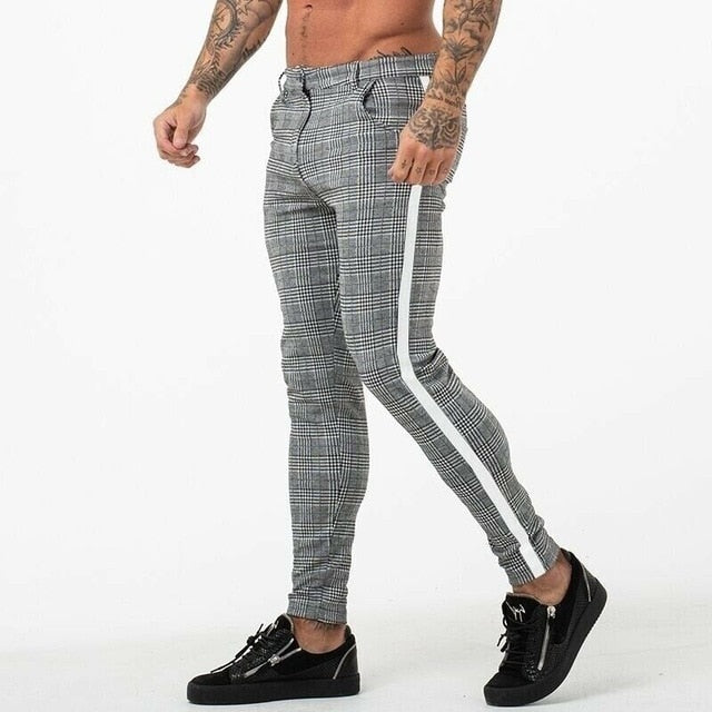 Plaid Crop Men's Slim Fit Trousers