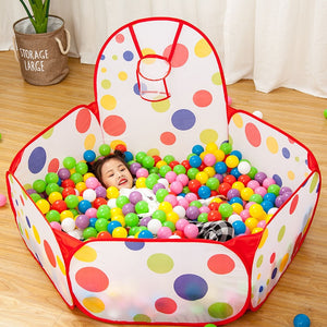 Children's Portable Ball Pit Playpen with Basketball Hoop