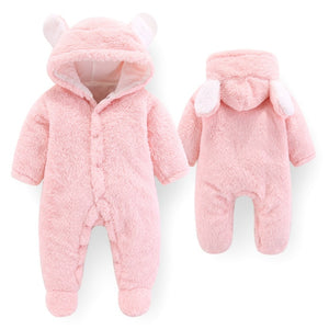 Baby Rompers Fleece Hooded Jumpsuit