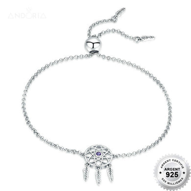Bracelet Attrappe Rêves - Argent 925 & Strass - Coulissant - ANDORIA