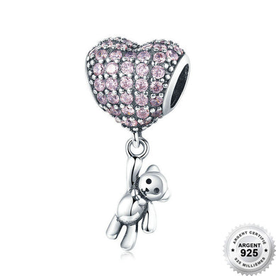 Charm Coeur d'Ours - Argent 925  & Strass - ANDORIA