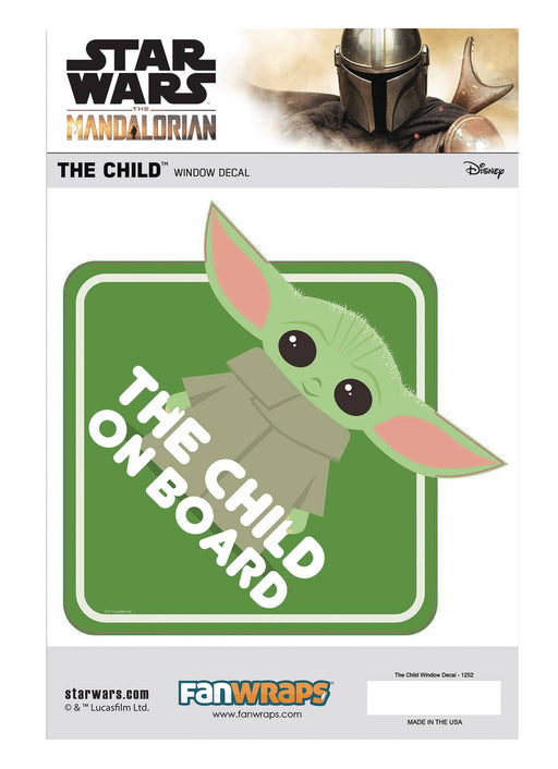 "FanWraps Star Wars: The Mandalorian - ""The Child On Board"" Window Decal"