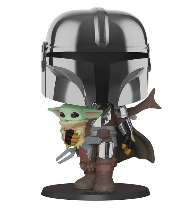 Funko Pop! Star Wars - The Mandalorian with The Child Chrome 10-inch Super-Sized Pop