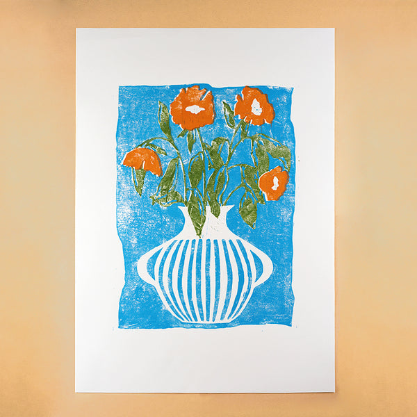 SKY BLUE AND MANDARIN ORANGE VASE A2 LINO PRINT