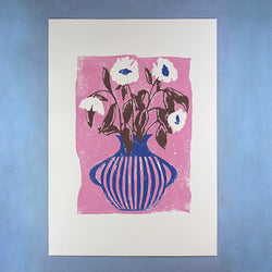 CANDY PINK AND COBALT BLUE VASE A2 LINO PRINT