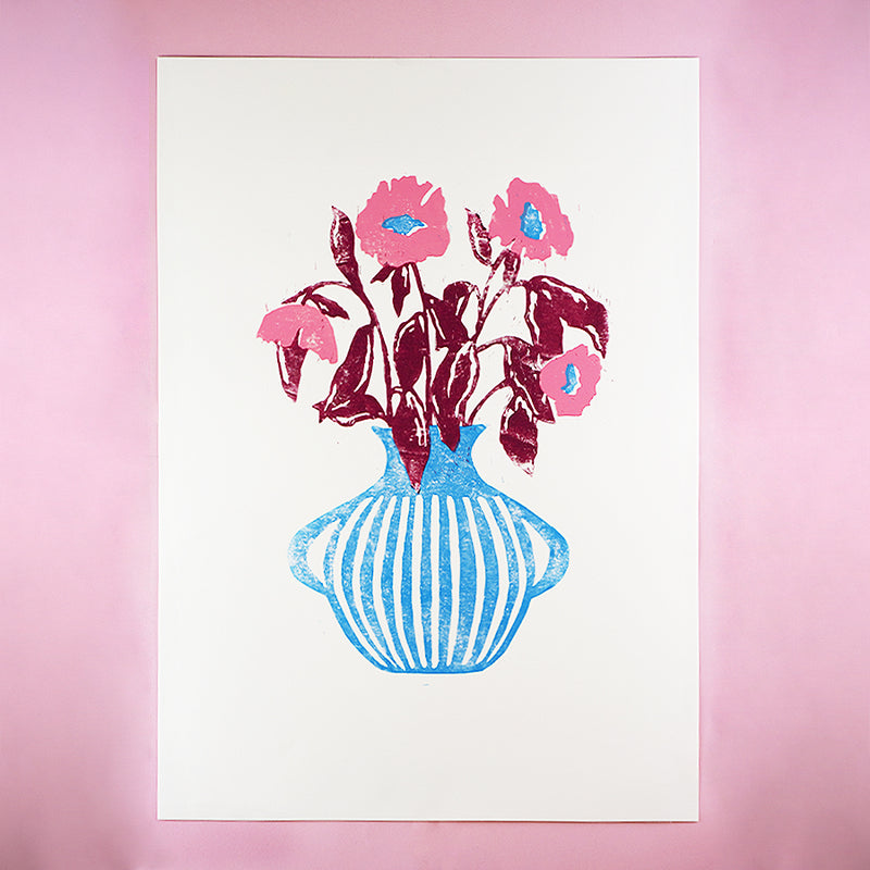 SKY BLUE, CANDY PINK AND GRAPE VASE A2 LINO PRINT