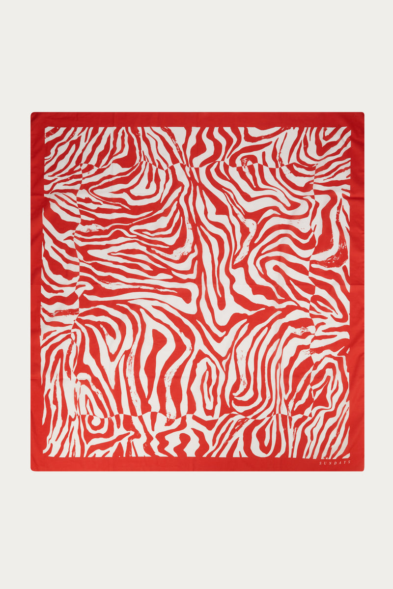 RICH RED WARPED ZEBRA TABLECLOTH