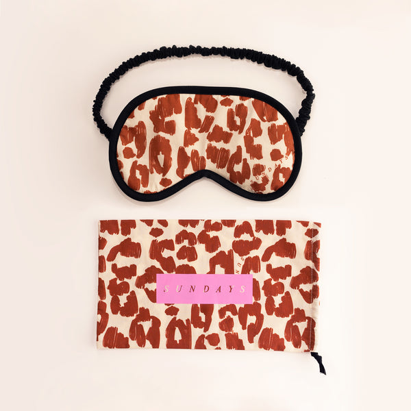TOFFEE TAN LEOPARD PRINT EYEMASK & POUCH
