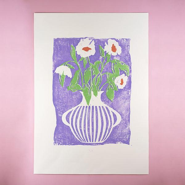 LILAC AND GREEN VASE A2 LINO PRINT